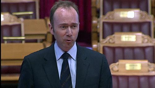 Kulturminister Trond Giske i Stortinget 5. mars 2008