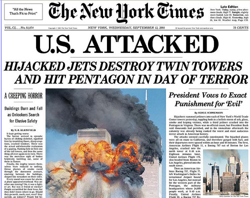 Utsnitt av New York Times' førsteside 12. september 2001