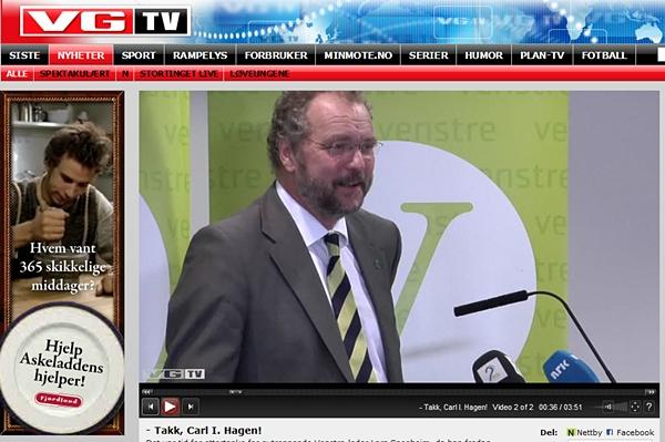 Slagkraftige levende bilder? Lars Sponheim på VGTV. (skjermbilde)