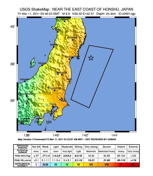 Jordskjelv i Japan: Data og kartvisninger