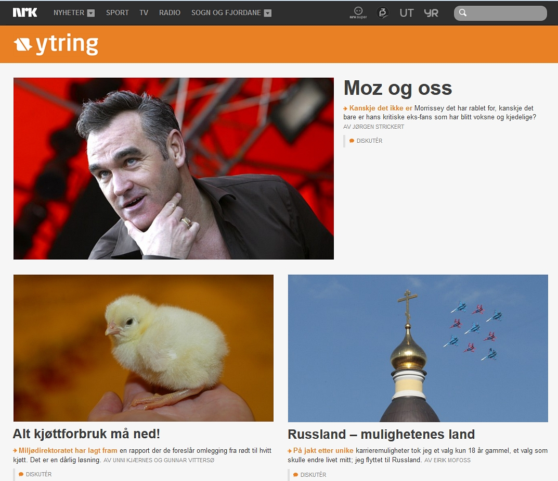 Forsiden på NRK Ytring 11. desember 2013.