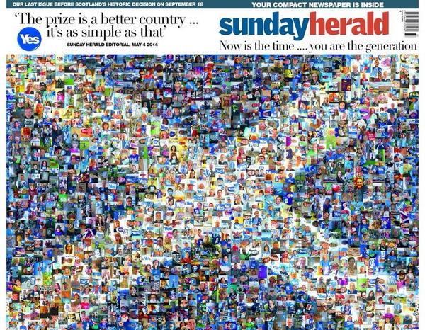 Sunday Heralds forside 4. mai 2014. Avisen var den første i Skottland til å støtte uavhengighet.