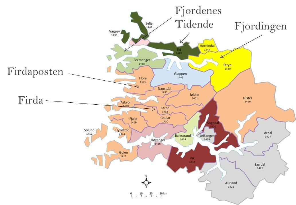Figur 2: Ulike lokale avisers nedslagsfelt i Sogn og Fjordane (ulike farger for ulike aviser). Se figur 3.8 i SNF-rapport.