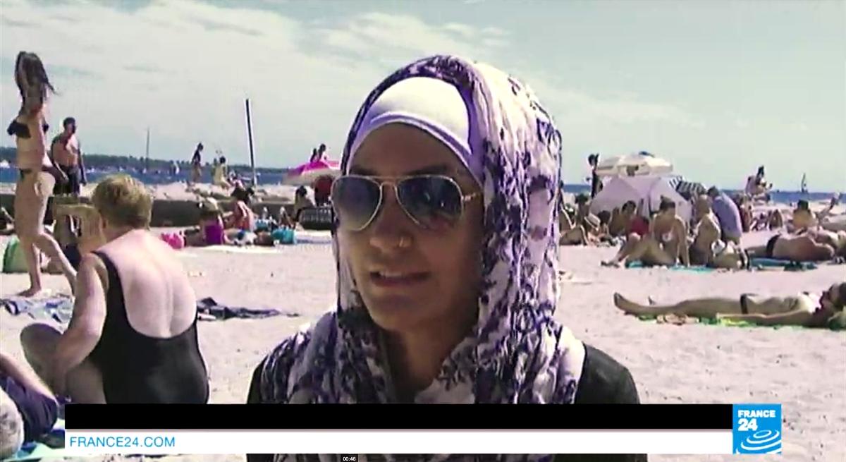 Bilde fra reportasje i France24 om burkinidebatten. (skjermbilde: france24.com)