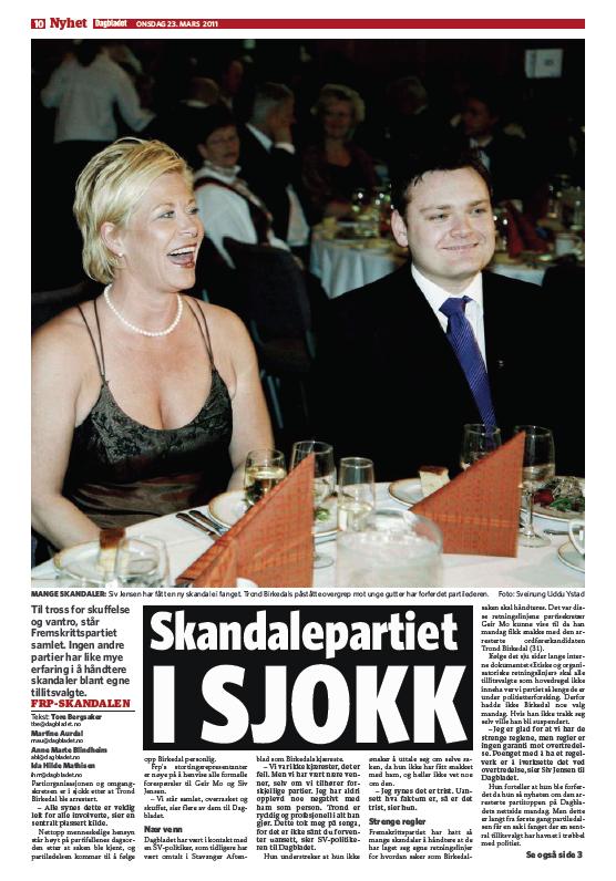 Det faktum at Frp ved flere anledninger har vært forbundet med politiske skandaler, ble kraftig moralsk fordømt av kommentatorene. Faksimile Dagbladet 23.03.11.