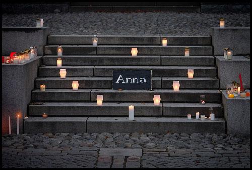 Fra minnemarkering for Anna Politkovskaja i Tammerfors 8. oktober 2006.