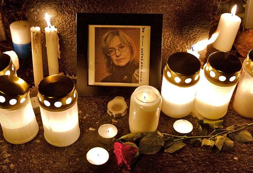 Fra en minnemarkering for Anna Politkovskaja i Helsingfors 8. oktober 2006.
