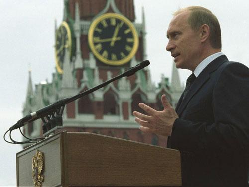 Vladimir Putin på talerstolen. Foto: www.kremlin.ru