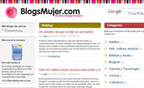 Skjermbilde av bloggportalen BlogsMujer