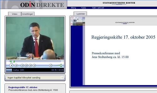Skjermbilde fra Jens Stoltenbergs første pressekonferanse, opptak på Odin.dep.no.