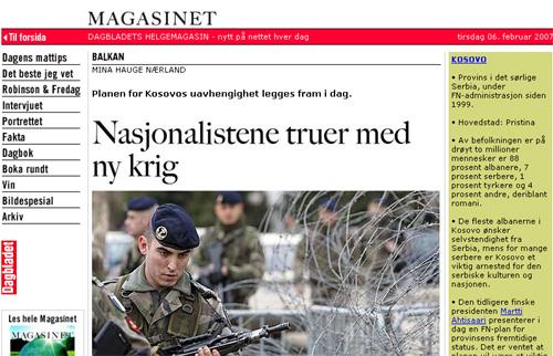 Uavhengighet for Kosovo? Artikkelen skapte heftig debatt med over 200 kommentarer.