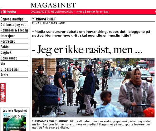 Sensurerer elitene viktig innvandringsdebatt? Artikkel i Dagbladet.no i september 2005.
