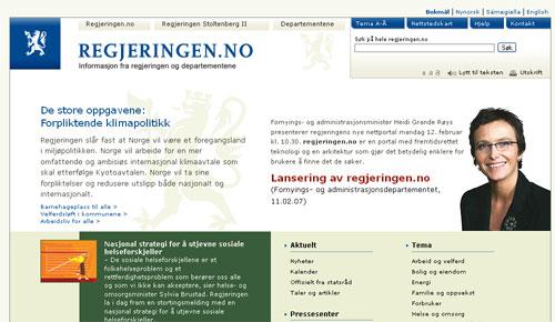 Fornyingsministeren lanserte regjeringen.no 12. februar 2007 (skjermbilde).