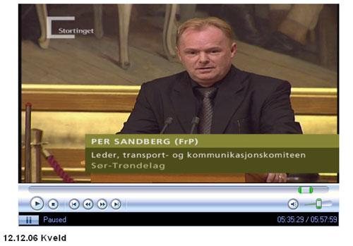 Per Sandberg på Stortingets talerstol 12. desember 2006 (foto: skjermbilde/NRK/Stortinget)