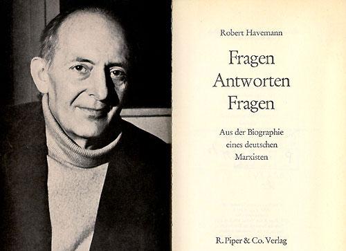"""Robert Havemann. Omslaget til boken """"Fragen Antworten Fragen"""", R. Piper & Co Verlag 1970."""