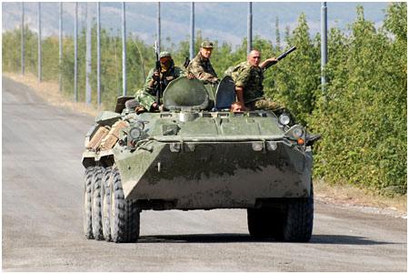 Russisk stridsvogn i Gori, Georgia (foto: Onnik Krikorian / Oneworld Multimedia 2008)