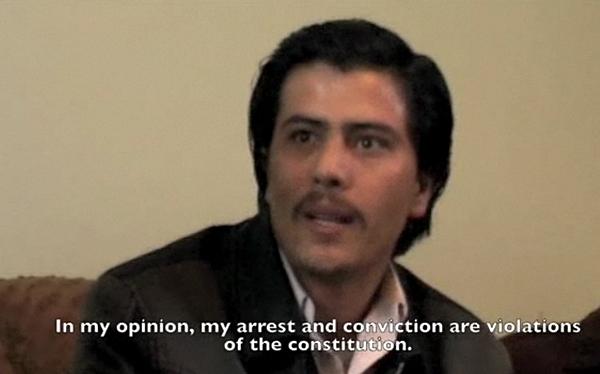 Seyed Kambakhsh intervjuet i fengselet (stillbilde fra video, Reportere uten grenser)