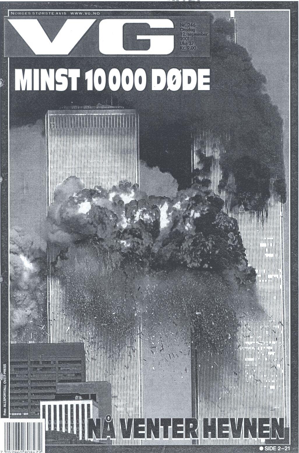 Billede 2. Forsiden af den norske avis VG, 12. september 2001