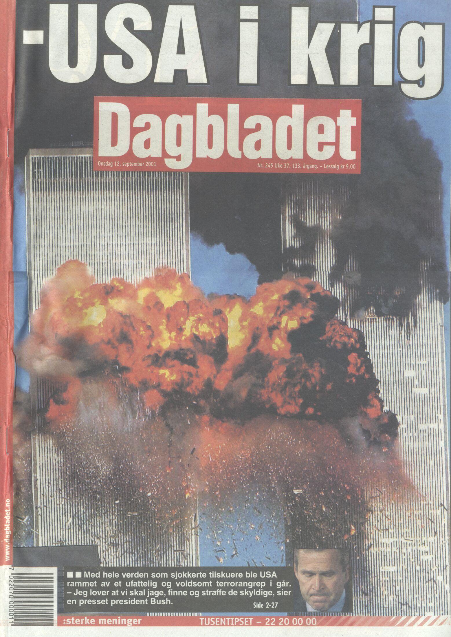 Billede 3. Forsiden af den norske avis Dagbladet, 12. September, 2001.