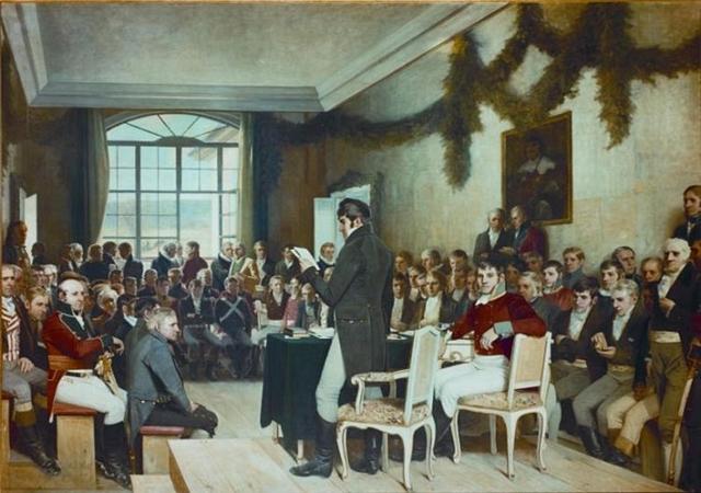 "Oscar Wergelands maleri ""Eidsvold 1814"" (kilde: eidsvoll1814.no)"