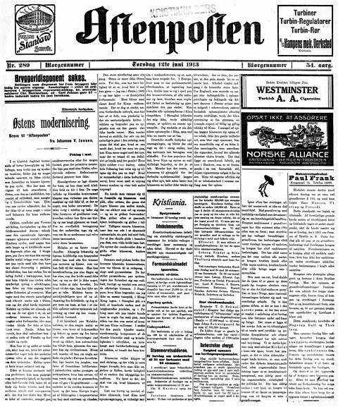Aftenposten 12. juni 1913: Kvinnestemmerett kun notisstoff.