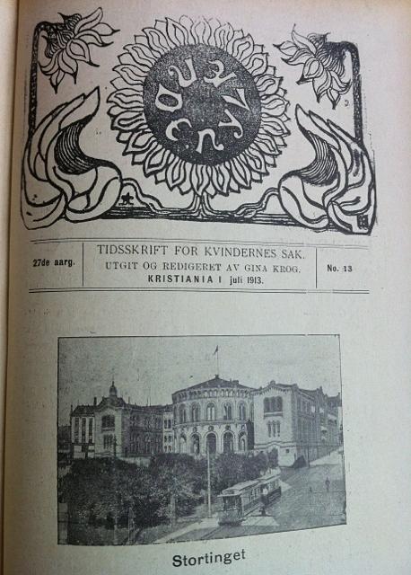 Kvinnesakstidsskriftet Nylænde markerer stemmerettsseieren i juli 1913.