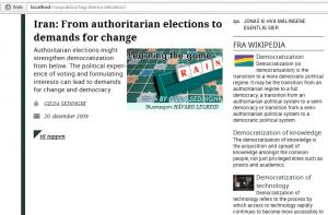 """Wikipedia-utvidelsen i aksjon på temasiden til """"democratization""""."""