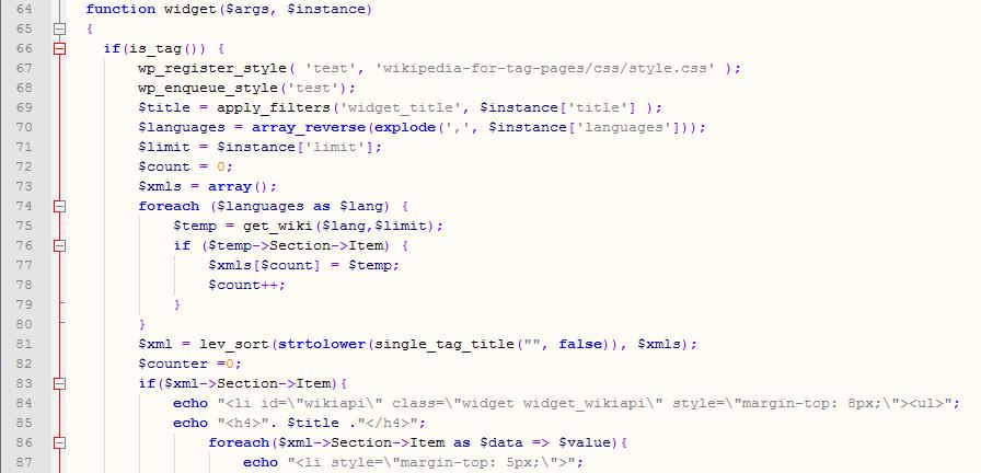 Utdrag av koden til utvidelsen Wikipedia for tag pages
