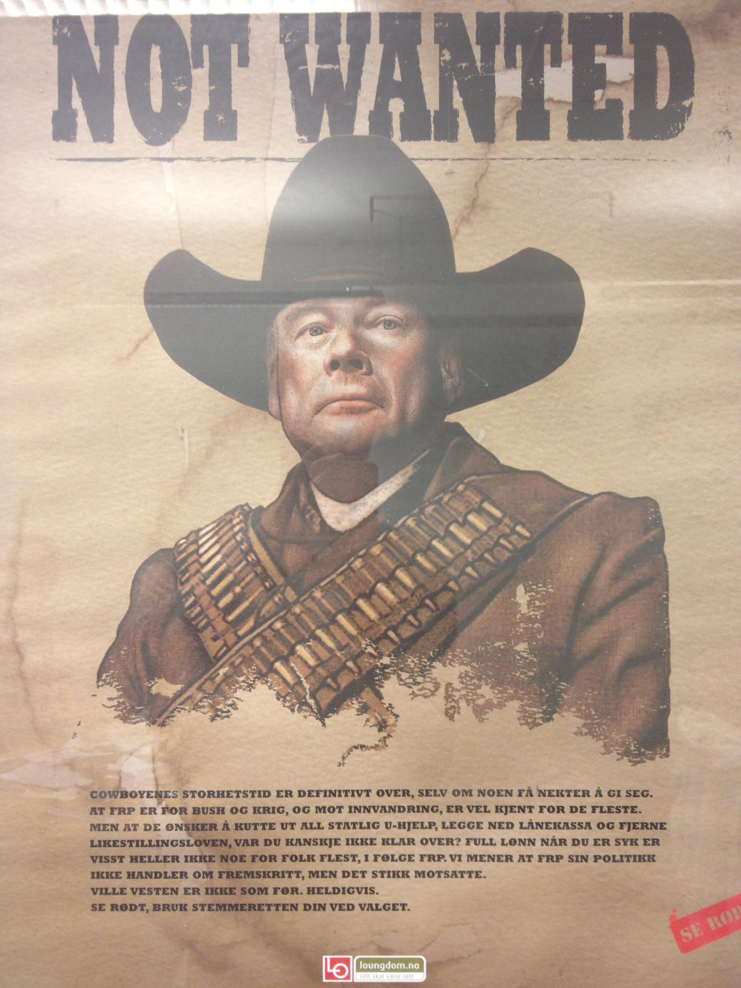 LO Ung er ikke fremmed for parodier på politikere. Her Carl I. Hagen som western-skurk. (Kilde: LO Ung)