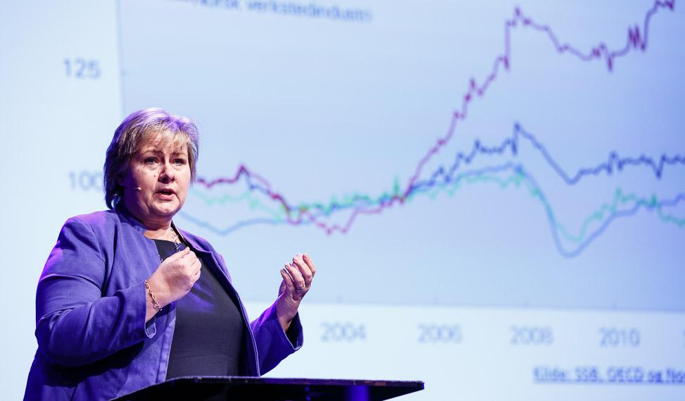 Erna Solberg snakker forretninger (Foto: Kilian Munch / Norsk olje og gass. CC: by sa-2.0)