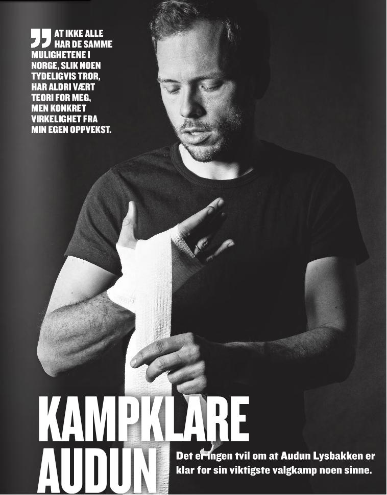 """Audun Lysbakken portrettert i SV si eige valkampavis """"Del Godene"""" (Foto: Skjermdump fra delgodene.no / Johanna Siring)."""