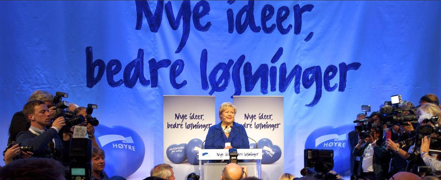 Erna Solberg taler etter valgseieren (Foto: Skjermdump fra Høyres Facebook-konto / CF-Wesenberg).