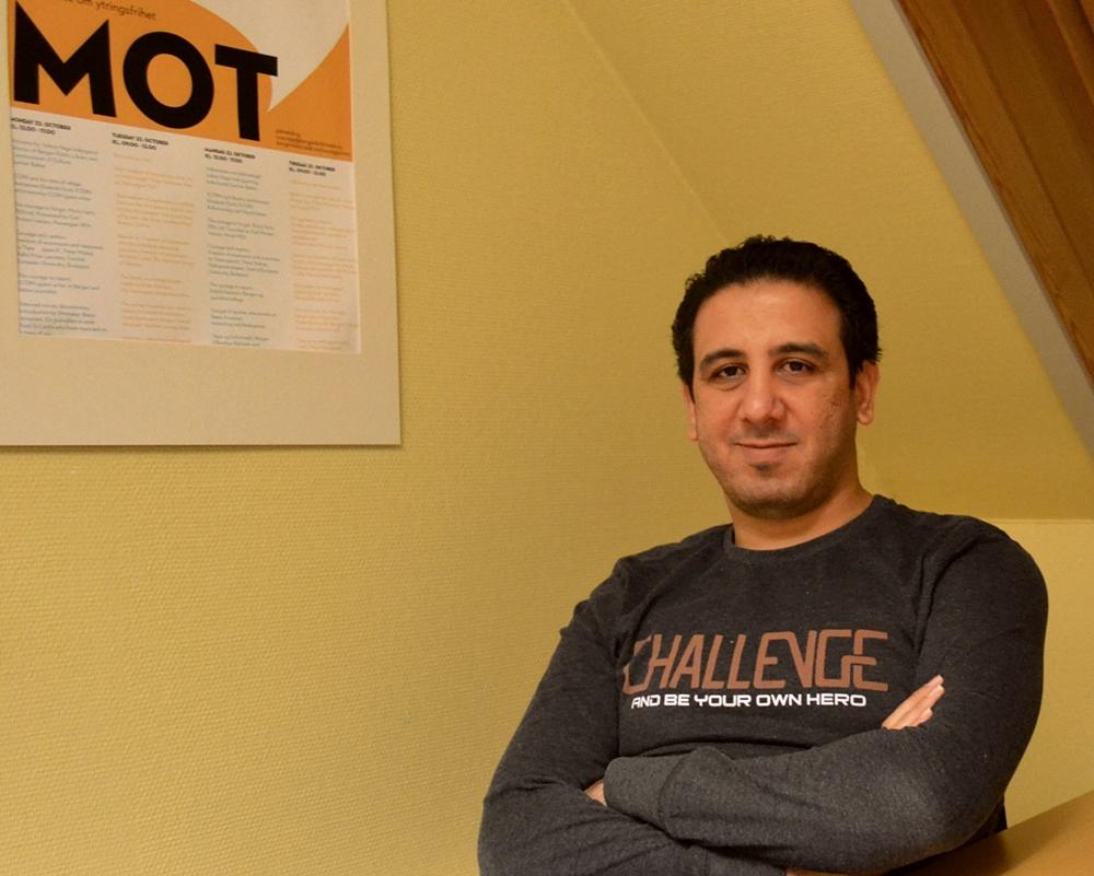 Kareem Amer, blogger og fribyforfatter i Bergen (foto: Emma Gerritsen).
