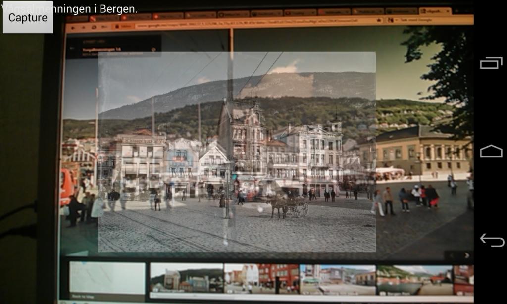 Skjermdump fra prototypen av appen der kamerafunksjonen testes opp mot et bilde fra Google Street View.