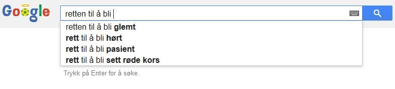 En rett til å bli glemt? Googles eget forslag til søkeord.