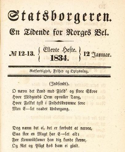 Avisen Statsborgeren med Collett-diktet på førstesiden. Klikk på bildet for å laste ned hele avisutgaven i pdf.