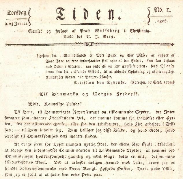 Førsteutgaven av avisen Tiden fra 28. januar 1808. Klikk på bildet for å laste ned hele utgaven som pdf.