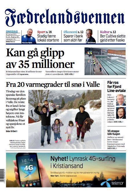 Fevennens forside 30. januar 2013.