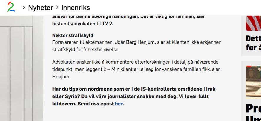 Skjermbilde fra tv2.no 23. september 2014.