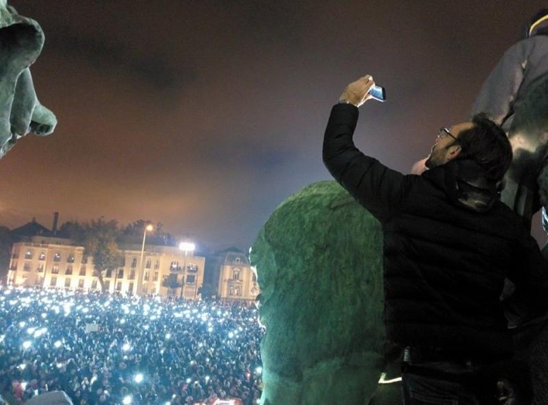 Demonstrasjon i Budapest i oktober 2014.