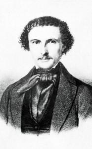 Marcus Thrane (1817-1890). Her trolig rundt tretti år gammel. (Litografi signert J. Wittmarch fec. og Em. Bærentzen Lith.Inst. Nasjonalbiblioteket)