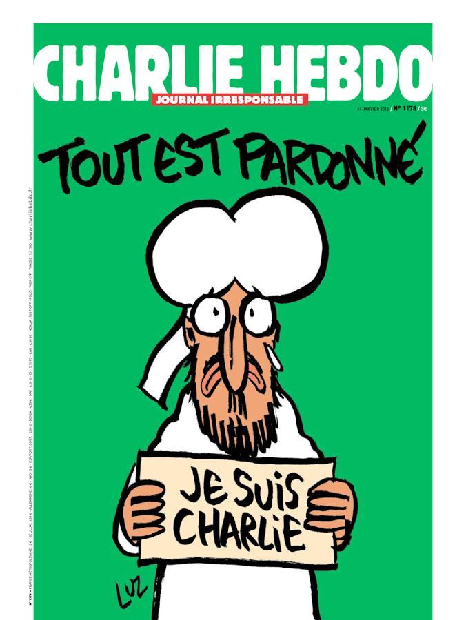 """""""Alt er tilgitt"""". Charlie Hebdo 14. januar 2015."""