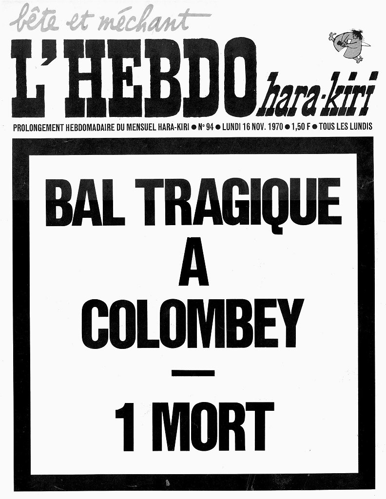 Oppslaget om general de Gaulles begravelse som førte til nedleggelse av Charlie Hebdos forløper Hara-Kiri i 1970 (kilde: palladio.free.fr).
