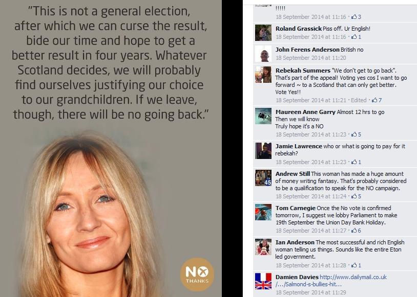 """J.K. Rowling engasjerte seg for nei-siden, her fra nei-kampanjens Facebook-side. """"Piss off, Ur English"""", er meldingen fra en av kommentatorene."""