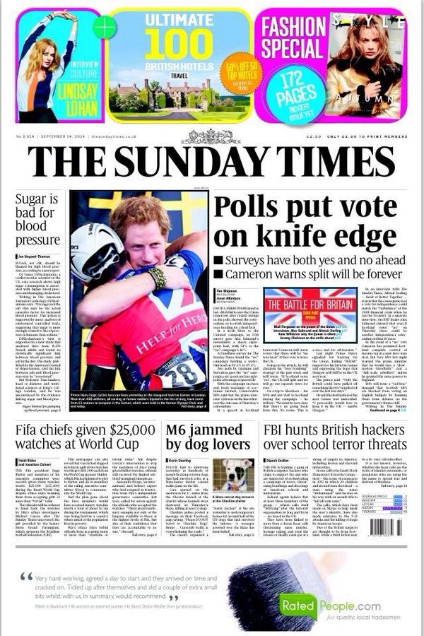 Sunday Times 14. september 2014: Meningsmålingen som pekte mot mulig ja-seier.