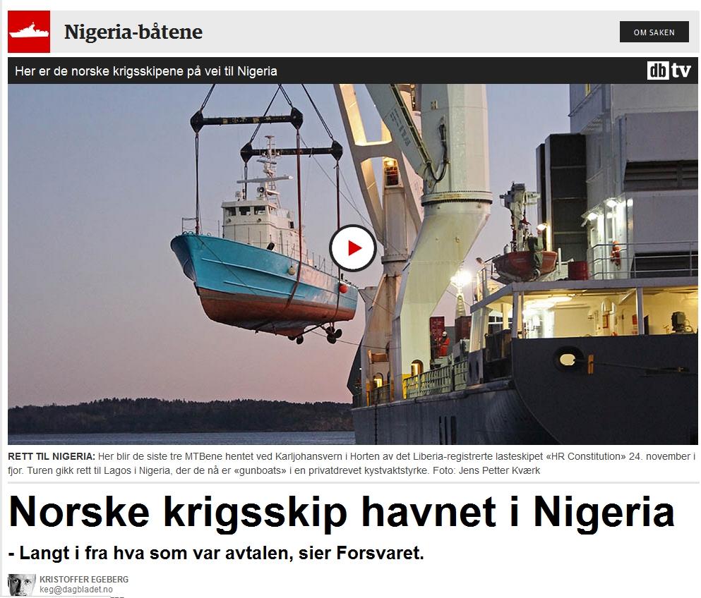 Dagbladets første nettsak om Nigeria-båtene fra juni 2014.