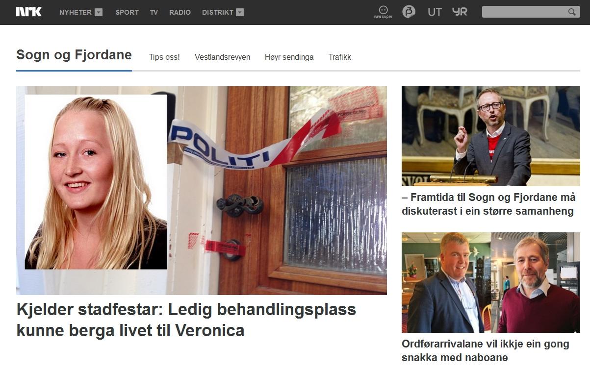 Forsiden til NRK Sogn og Fjordanes nettside 28. april 2015.