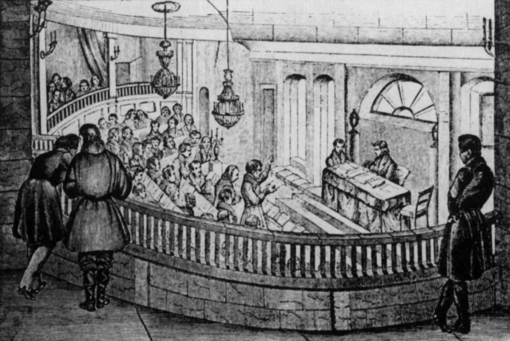 Den gamle stortingssal. Avisutklipp, tresnitt i Skilling-Magasin 1838.