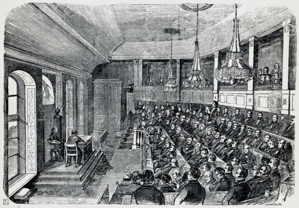 «Den gamle Storthingssal. Det forsamlede femtende ordentlige Storthing 1857.» Illustrasjon fra En Christianiensers Erindringer fra 1850- og 60-Aarene av Yngvar Nielsen.