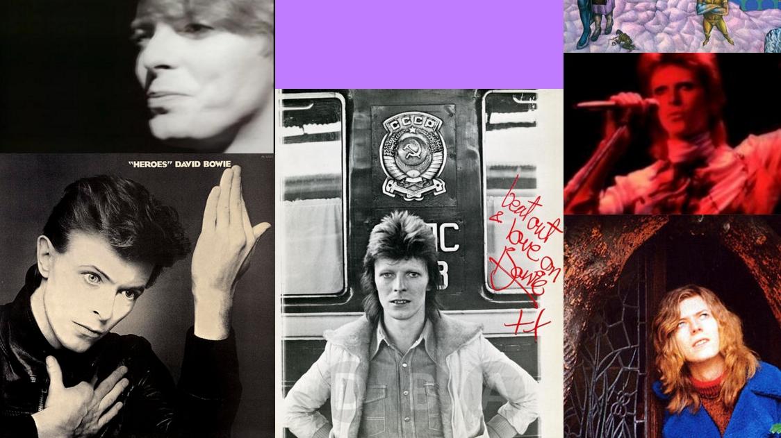 Et lite utvalg av David Bowies mange ansikter (utsnitt fra det offisielle nettstedet davidbowie.com.)